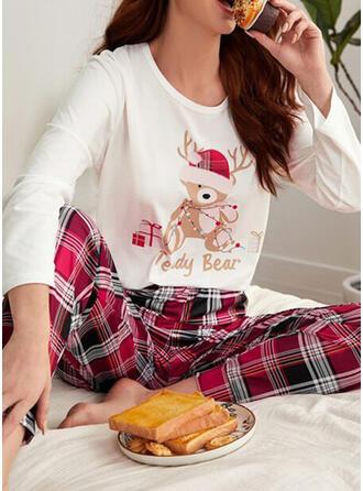 Cotton Blends Long Sleeves Plaid Christmas Pyjama Set