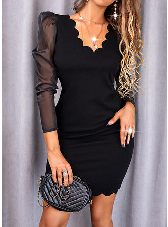 Solid Lace Long Sleeves Bodycon Above Knee Little Black/Elegant Dresses