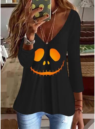 Halloween Print V-Neck 3/4 Sleeves T-shirts