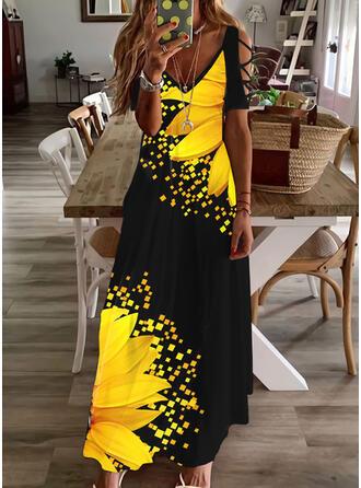 Print/Floral Short Sleeves Cold Shoulder Sleeve Shift Casual/Vacation Maxi Dresses