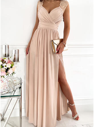 Solid Lace Sleeveless A-line Skater Party/Elegant Maxi Dresses