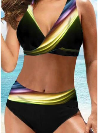 Splice color Patchwork Halter V-Neck Sexy Plus Size Casual Bikinis Swimsuits