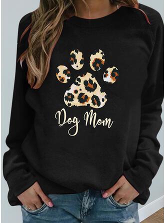 Print Leopard Letter Animal Round Neck Long Sleeves Sweatshirt
