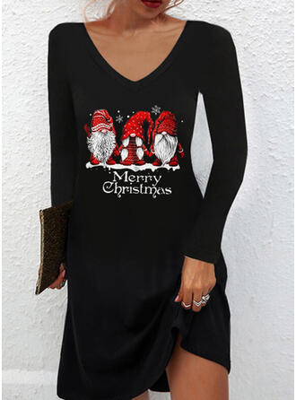 Christmas Print/Letter Long Sleeves Shift Above Knee Casual T-shirt Dresses