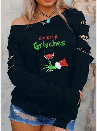 Christmas Print Leopard Letter Round Neck Long Sleeves Christmas Sweatshirt