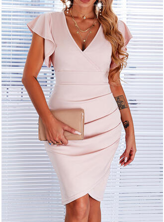 Solid Short Sleeves Ruffle Sleeve Sheath Above Knee Casual Dresses