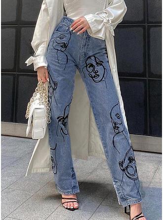 Print Denim Long Casual Denim & Jeans