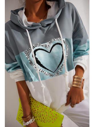 Print Color Block Heart Sequins Long Sleeves Hoodie