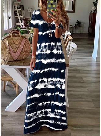 Tie Dye Short Sleeves Shift T-shirt Casual/Vacation Maxi Dresses