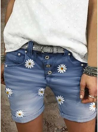 Floral Print Denim Above Knee Casual Plus Size Pocket Button Pants Shorts Denim & Jeans
