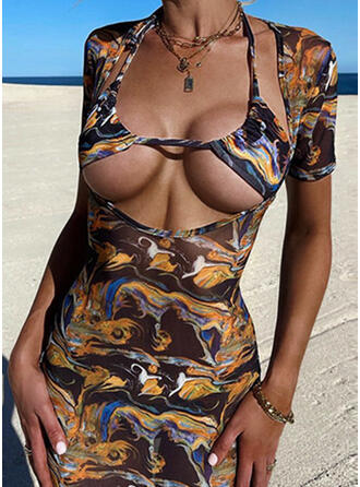 Print Short Sleeves Bodycon Above Knee Sexy/Casual Dresses