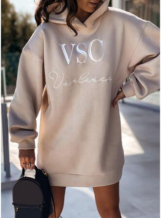 Print/Letter Long Sleeves Dropped Shoulder Shift Above Knee Casual Sweatshirt Dresses