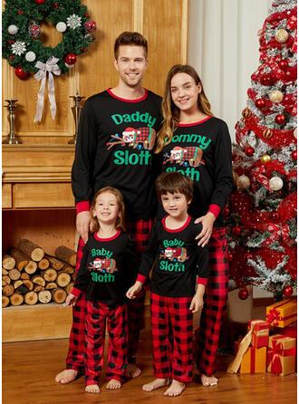 Plaid Letter Cartoon Family Matching Christmas Pajamas