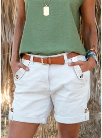Solid Above Knee Casual Plus Size Pocket Button Pants Shorts