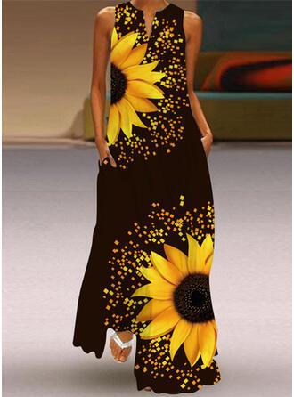 Sunflower Print Sleeveless Shift Casual Maxi Dresses