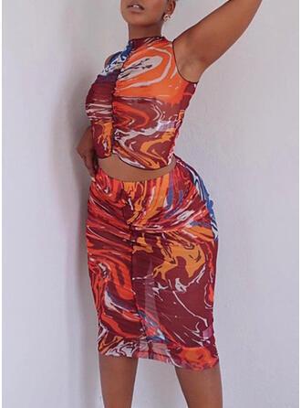 Print Sleeveless Bodycon Knee Length Sexy/Casual Dresses