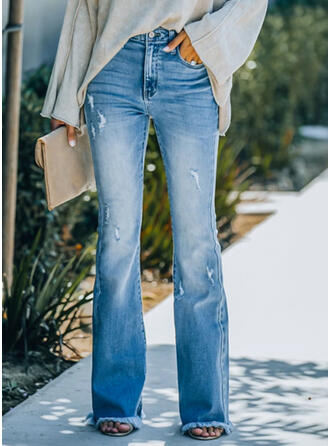 Solid Denim Long Elegant Vintage Plus Size Pocket Denim & Jeans
