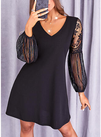 Solid Lace Long Sleeves Lantern Sleeve Shift Above Knee Little Black/Casual Tunic Dresses