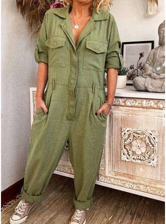 Solid Shirt collar 3/4 Sleeves Casual Jumpsuit
