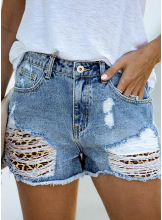 Print Plus Size Ripped Sexy Vintage Shorts Denim & Jeans