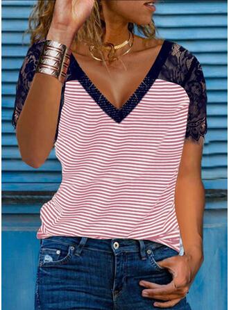 Print Striped Lace V-Neck Short Sleeves T-shirts
