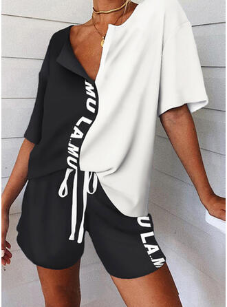 Letter Print Color Block Sporty Casual Tee & Pants Two-Piece Outfits Set