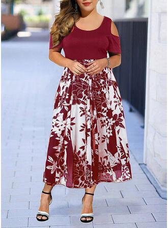 Plus Size Floral Print Short Sleeves A-line Midi Elegant Dress