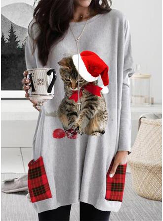 Animal Print Grid Pockets Round Neck Long Sleeves Christmas Sweatshirt