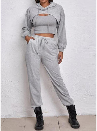 Solid Casual Sweatshirts & Two-Piece Outfits Set