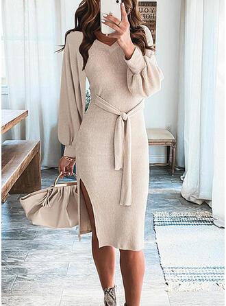 Solid Knit Long Sleeves Lantern Sleeve Sheath Knee Length Casual Sweater Dresses