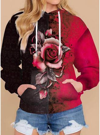 Print Floral Hooded Long Sleeves Hoodie