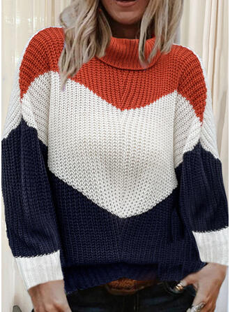 Color Block High Neck Casual Sweaters