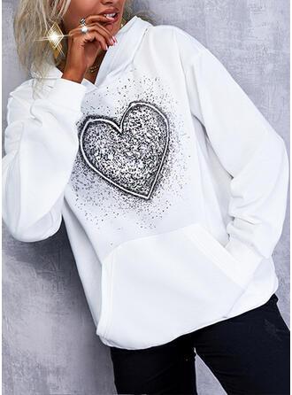 Print Heart Hooded Long Sleeves Hoodie