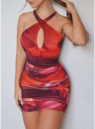 Tie Dye/Backless Sleeveless Bodycon Above Knee Sexy/Casual Dresses