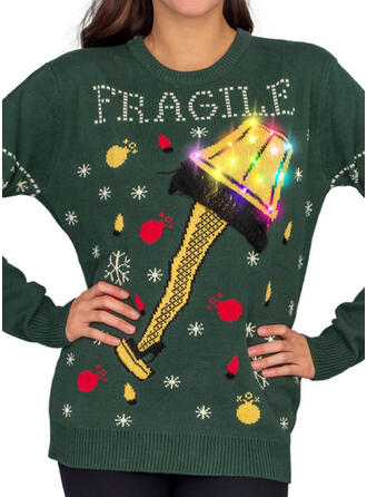 Women's Polyester Print Letter Ugly Christmas Sweater