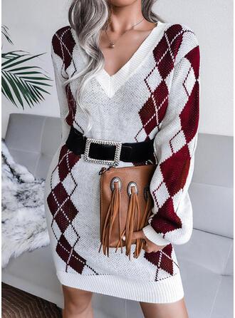 Print Geometric V-Neck Casual Sweater Dress