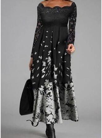 Print Long Sleeves A-line Skater Casual Midi Dresses