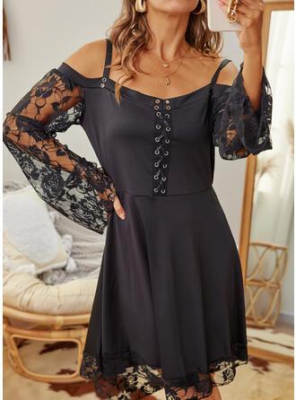 Solid Long Sleeves Cold Shoulder Sleeve A-line Knee Length Little Black/Casual Skater Dresses