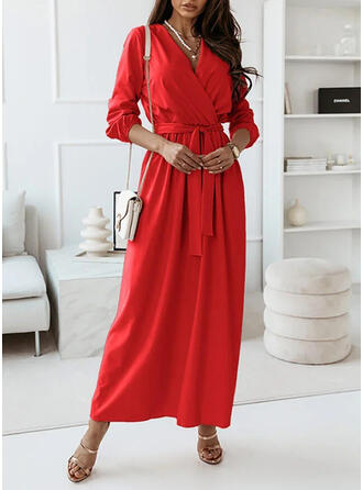 Solid Long Sleeves A-line Skater Casual Maxi Dresses