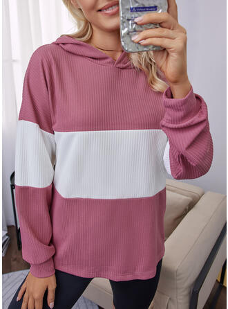 Color Block Hooded Long Sleeves Dropped Shoulder Casual Blouses