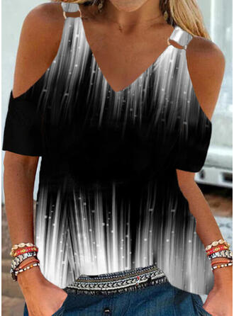 Print Gradient Cold Shoulder Short Sleeves Cold Shoulder Sleeve Casual Blouses