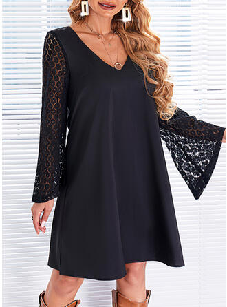 Solid Lace Long Sleeves Flare Sleeve Shift Above Knee Little Black/Elegant Tunic Dresses