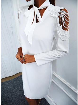 Solid Lace Long Sleeves Cold Shoulder Sleeve Shift Above Knee Elegant Dresses