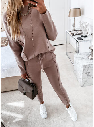 Solid Casual Tee & Two-Piece Outfits Set