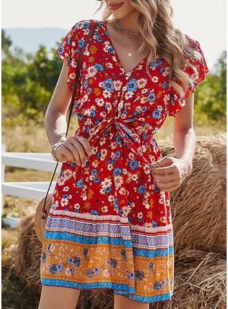 Print/Floral Short Sleeves A-line Above Knee Boho/Vacation Skater Dresses
