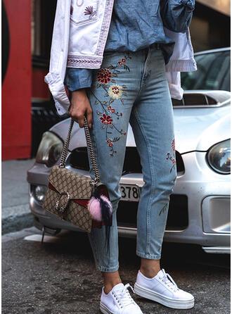 Floral Print Denim Long Casual Embroidery Denim & Jeans