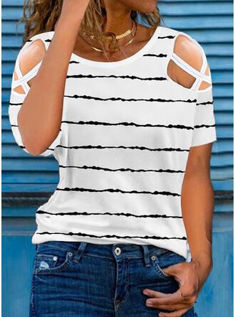 Print Cold Shoulder Short Sleeves T-shirts