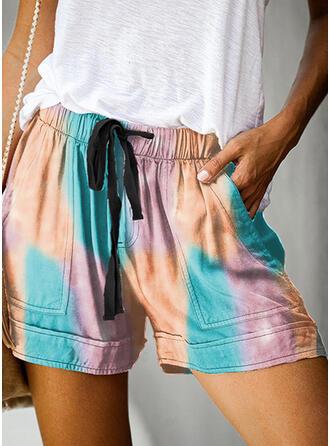 Color Block Above Knee Casual Vacation Pocket Drawstring Pants