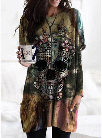 Halloween Print Floral Skull head Round Neck Long Sleeves Sweatshirt