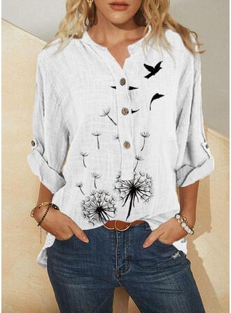 Print Animal Dandelion V-Neck Long Sleeves Casual Blouses